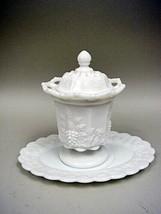 Westmoreland White Milk Glass Covered Jar & Tray - Paneled Grape Pattern - $36.62