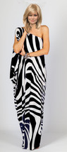 Custom Made One Shoulder Maxi Dress Matte Jersey Wide Zebra One Size - $60.00