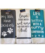 Pet Dog Theme Kitchen Hand Towels, Set of 3, Microfiber, 25x15, Pawprint... - $11.99