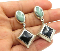 MEXICO 925 Silver - Vintage Black Onyx & Turquoise Dangle Earrings - E7490 - $51.94