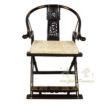 An item in the Antiques category: Antique Chinese Rosewood Horseshoe Back Folding Chair 18LP10