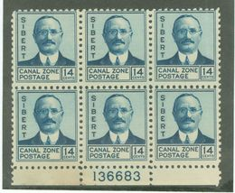 1937 William Sibert Plate Block of 6 Canal Zone Postage Stamps Catalog 110 MNH