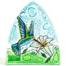 Fused Art Glass Hummingbird & Flower Nightlight Night Light Handmade Ecuador image 2