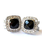 Pave & Black Square Cubic Zirconia HOOP-OMEGA-FRENCH Back Earrings 15MM - $49.49