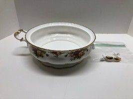 Royal Albert Old Country Roses Round Handled Vegetable Dish Broken Handle - $47.47