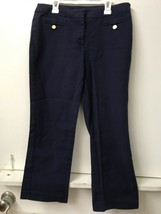 "Anne Klein Women's Pants Trousers Navy Blue Size 6 Hemmed Inseam 24"" - $9.95"