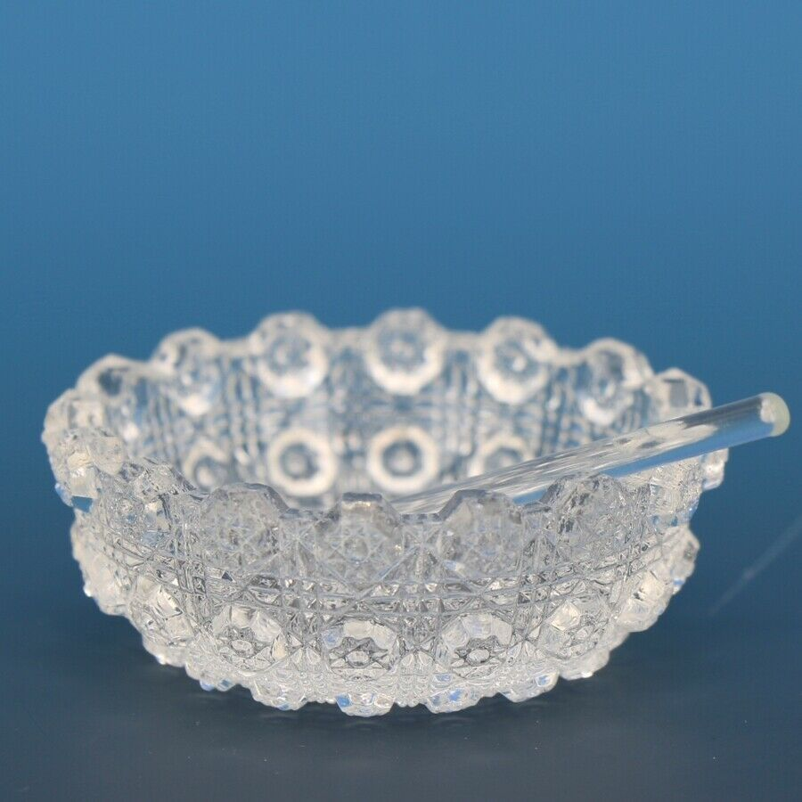 Vintage EAPG Pressed Glass Open Salt Lacy Daisy with Spoon