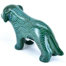 Tabaka Chigware Hand Carved Kisii Soapstone Green Standing Puppy Dog Figure image 2
