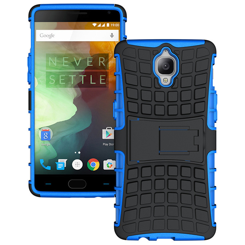 Dual Layer Shockproof Armor Kickstand Phone Cover Case for OnePlus 3 - Blue