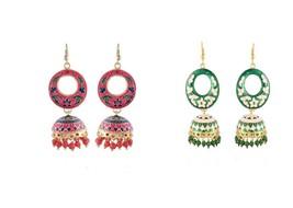 2 Pairs Set Fashion Earrings Indian Handmade Drop Dangle Earrings For Girls - $11.99