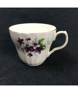 H Aynsley & Co England White Teacup Purple Flowers Greenery Applied Handle Gold - $21.77