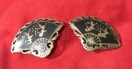 Vintage Enamel Sterling Silver SIAM Dancer Fan Shaped Earrings Clip On - $18.69
