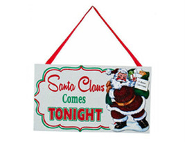 "KURT S. ADLER ""SANTA CLAUS COMES TONIGHT"" WOODEN SIGN GLITTER CHRISTMAS ... - $5.88"