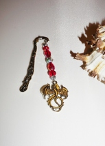Dolphin Bookmark, Dragon Charm, Red and Silver Bookmark, One of a Kind G... - $10.00