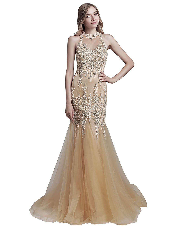 Women's High Neckline Lace Applique Mermaid Evening Dresses Tulle Formal Dresses