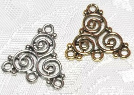 SWIRL DESIGNED ONE TO THREE HOLE FINE PEWTER CONNECTOR / EARRING PART