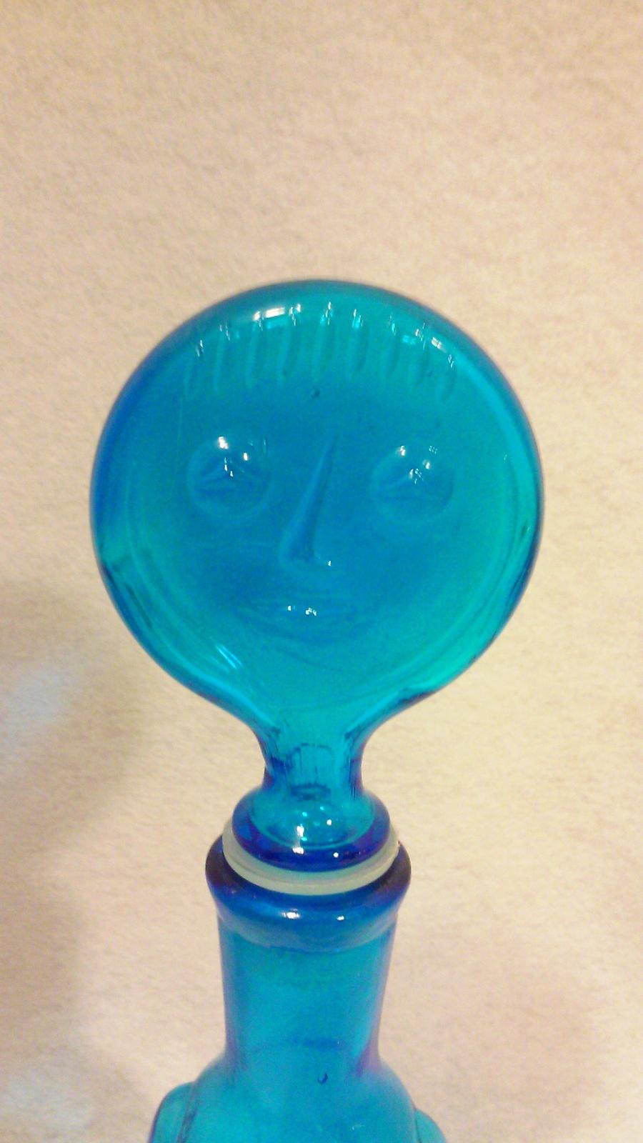 Vintage Swedish Erik Hoglund People Series Blue Decanter Bottle
