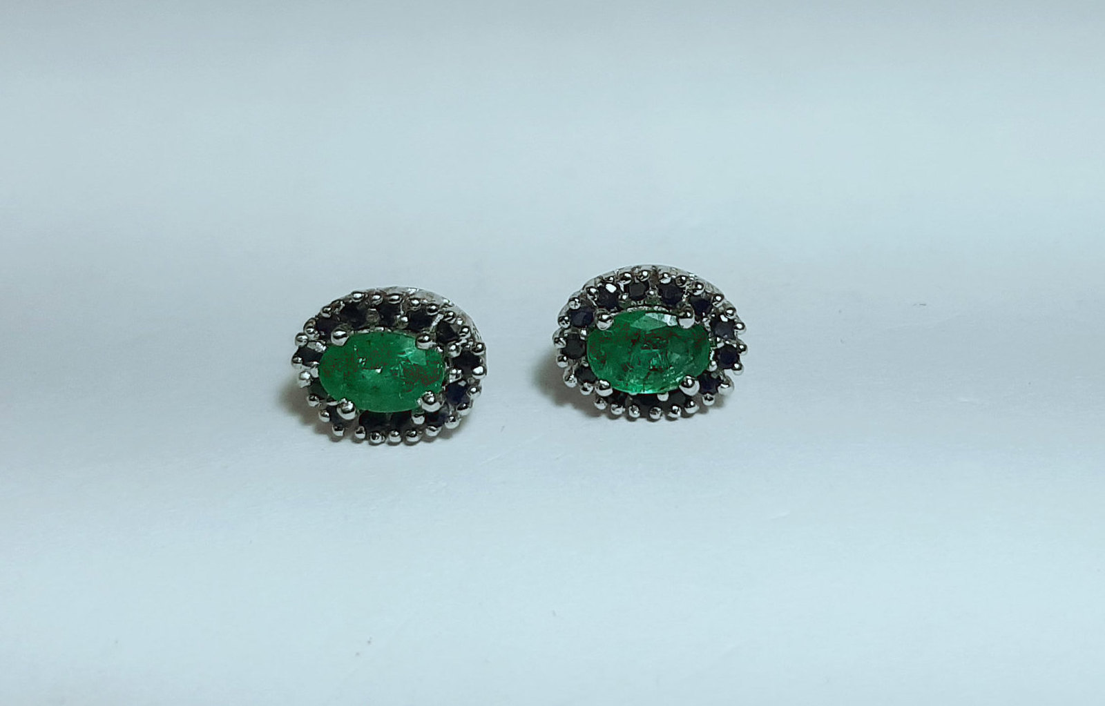 925 Sterling Silver Natural Fine Quality Emerald And Blue Sapphire Gemstone Hand