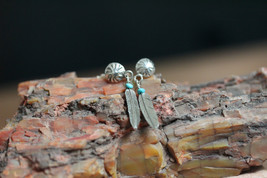 Native American Sterling Silver Feather Turquoise Post Earrings By Marvi... - $20.00