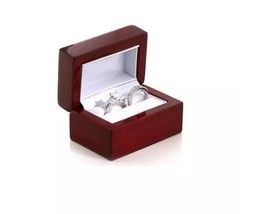 Cherry Wooden Wedding/ Bridal Set Double Ring Jewelry Gift Box New - $15.43