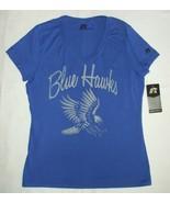 DSU T-Shirt Dickinson State University Hawks Blue V-Neck Short Sleeve ME... - $9.85