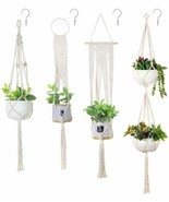 Soonow Macrame Plant Hangers, Hanging Planters For Indoor Plants With Ho... - $32.18 CAD