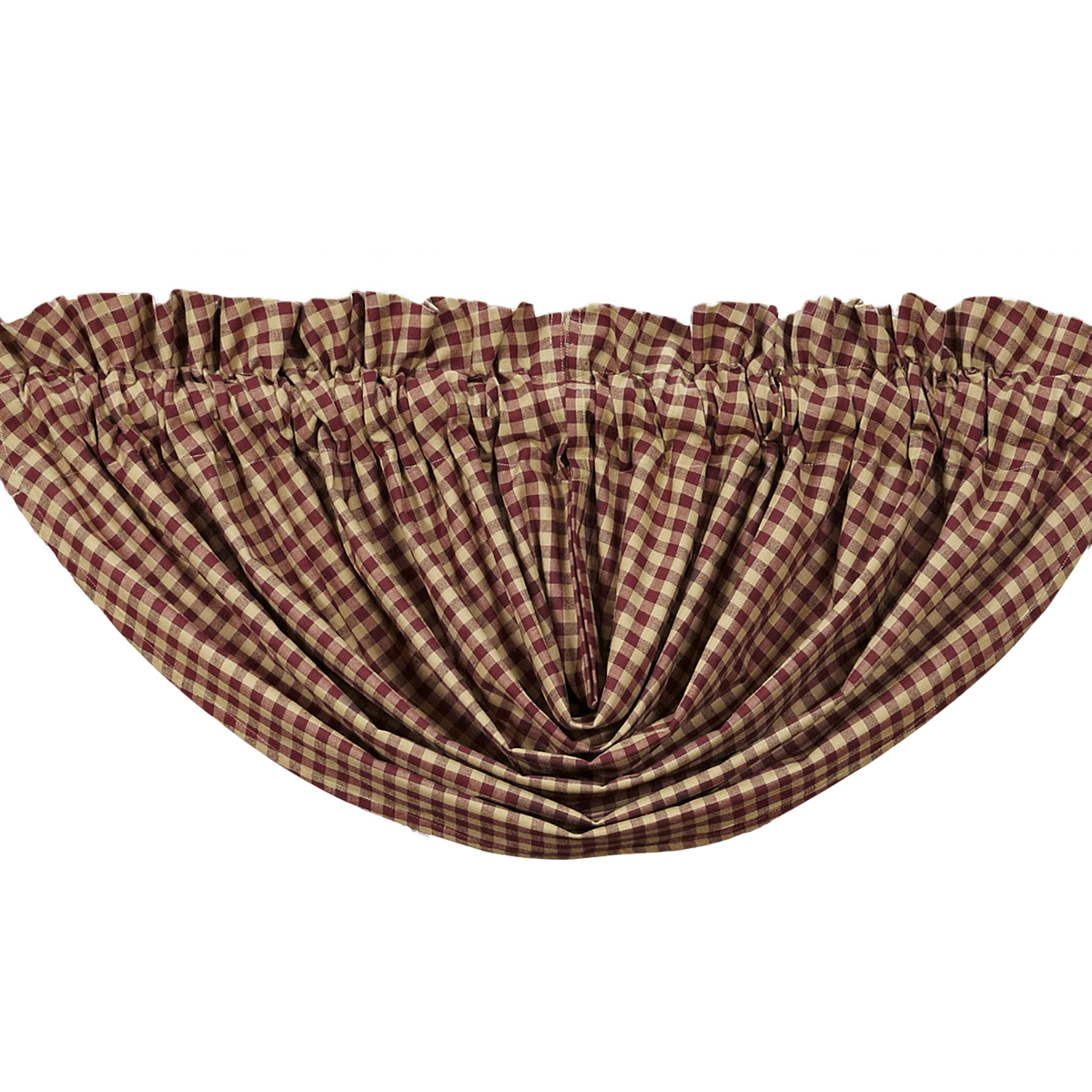 BURGUNDY CHECK Balloon Valance Lined - 60x15 - Country Burgundy/Tan - VHC Brands