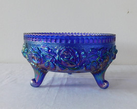 Imperial Glass Iridescent Carnival Cobalt Blue Roses Fernery 3 Footed Bowl - $24.99