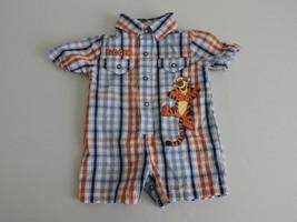 Disney Baby Tigger Outfit 3M Cotton Plaid Summer Boys Lightweight Blue Orange - $12.60