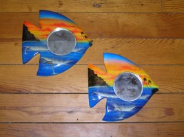 Estate Lot of 2 Blue & Orange Painted Wood Ocean Fish w Dolphins & Round... - $10.39