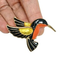 "1.5"" Tall Hummingbird Pin Brooch Gold Tone Enamel Safety Catch Clasp - $10.45"