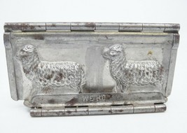 Antique Magus Double Lamb Sheep Chocolate Candy Mold Hinged Metal DRGM Rust - $74.24