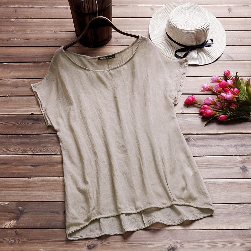 2018 ZANZEA Summer Women Loose Blouse Short Batwing Sleeve Ladies Casual Shirt B