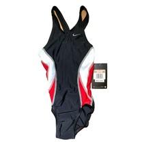 NWT Nike Size 20 Girls 5 One Piece Swimsuit Black Red White Stripes - $19.00