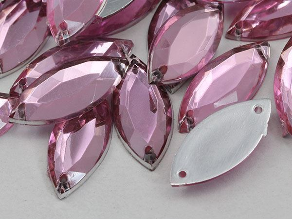 20x9mm Pink Lt. CH13 Navette Flat Back Sew On Gems For Craft 50 PCS