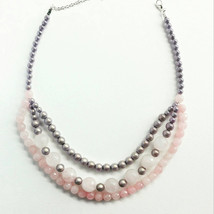 Rose quartz pearls necklace large quartz pink Hand crafted rose quartz n... - $37.05