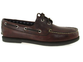 TIMBERLAND 2 Eye Classic Handsewn Men's Mid Brown Leather Boat Shoes, #2... - $79.99