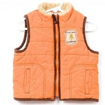 Gymboree Puffer Vest 12-18 Month Rocky Mtn Camper Orange Full Zip Pockets Winter - $20.65