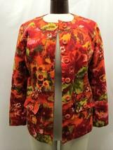 Chico's Women's Blazer Orange And Red Multicolored Print Chico's Size 2 ... - $35.63
