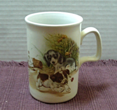 Vintage ASHDALE POTTERY Made in England Bad Puppy With Rose Coffee Cup Mug - $8.00