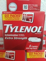 (3)~Sealed Boxes of Tylenol Extra Strength ,Travel Packs~ Exp. 07/2023~ Go Packs image 2