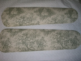 Custom Designed ~ ~Romantic Lovers Victorian Toile Ceiling Fan Ivory & Sage Gree - $99.99