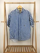 VTG Tommy Hilfiger Men's Vertical Blue White Striped Crest Button Front ... - $49.95