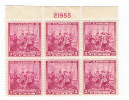 1938 Landing of Swedes and Finns UL Plate Block of 6 US Stamps Catalog 836 MNH