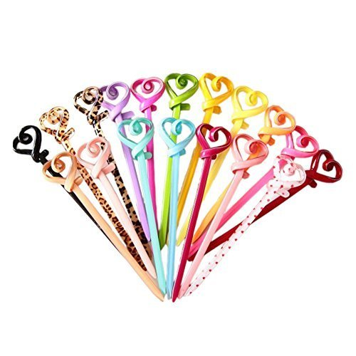 [Set of 3] Acrylic PinkyColor Heart Ladies/ Girls Hair Stick,Random Colour