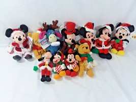 Disney Christmas Beanie Plush Lot of 11 Some w/tags, Mickey, Minnie, Poo... - $32.66