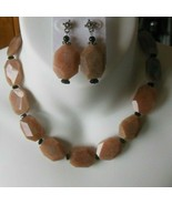 Vintage Silver-tone Multi-Faceted brown Polished Stone Necklace & Earrin... - $64.35