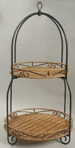 Princess House Casual Home 2 Tier Wire Wicker Plate Stand Holder #2565 - $24.74