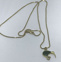 Pendant 14k Yellow Gold Crane Inlayed Green Jade Box Link Chain 5 Grams ... - $429.94
