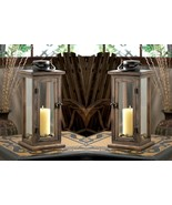 2 Perfect Lodge Candle Lanterns  Stained Wood w/ Clear Glass Panels 15.8... - $59.45